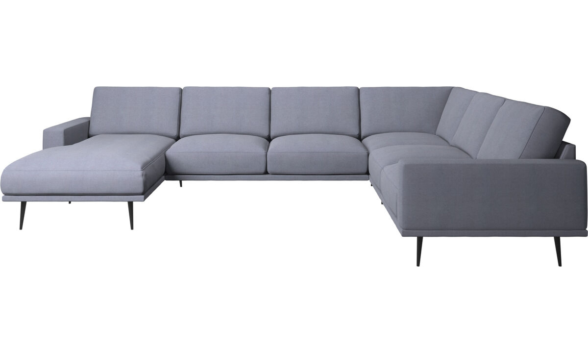 Chaise longue sofas - Carlton corner sofa with resting unit - Blue - Fabric