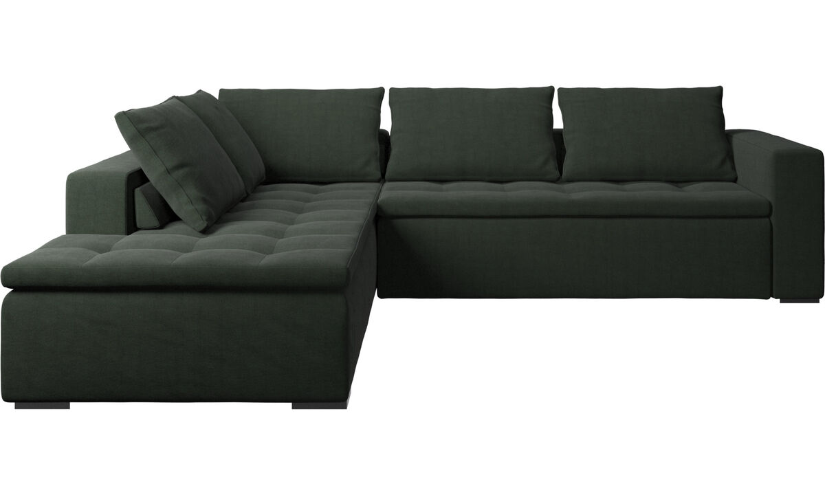 Sofas with open end - Mezzo corner sofa with lounging unit - Green - Fabric