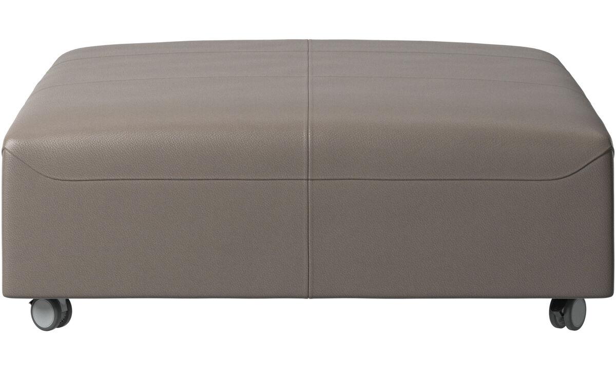 Footstools - Hampton footstool on wheels - Grey - Leather
