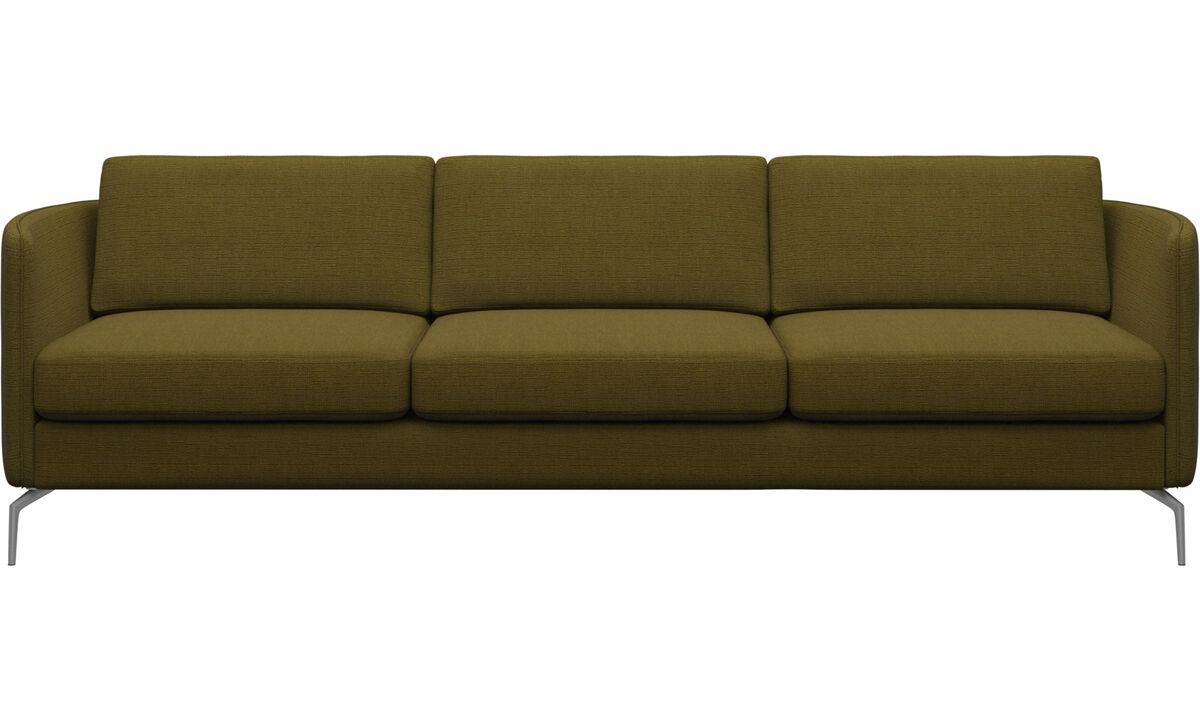 Sofás de 3 plazas - sofá Osaka, asiento regular - En amarillo - Tela