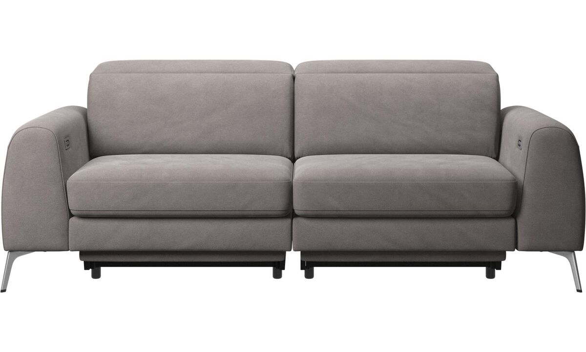 3 seater sofas - Madison sofa with electric seat, head and footrest motion (rechargeable lithium battery included) - Grey - Fabric