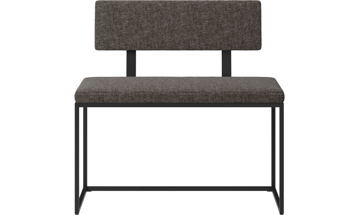 Benches - London small bench with cushion and backrest - Brown - Fabric