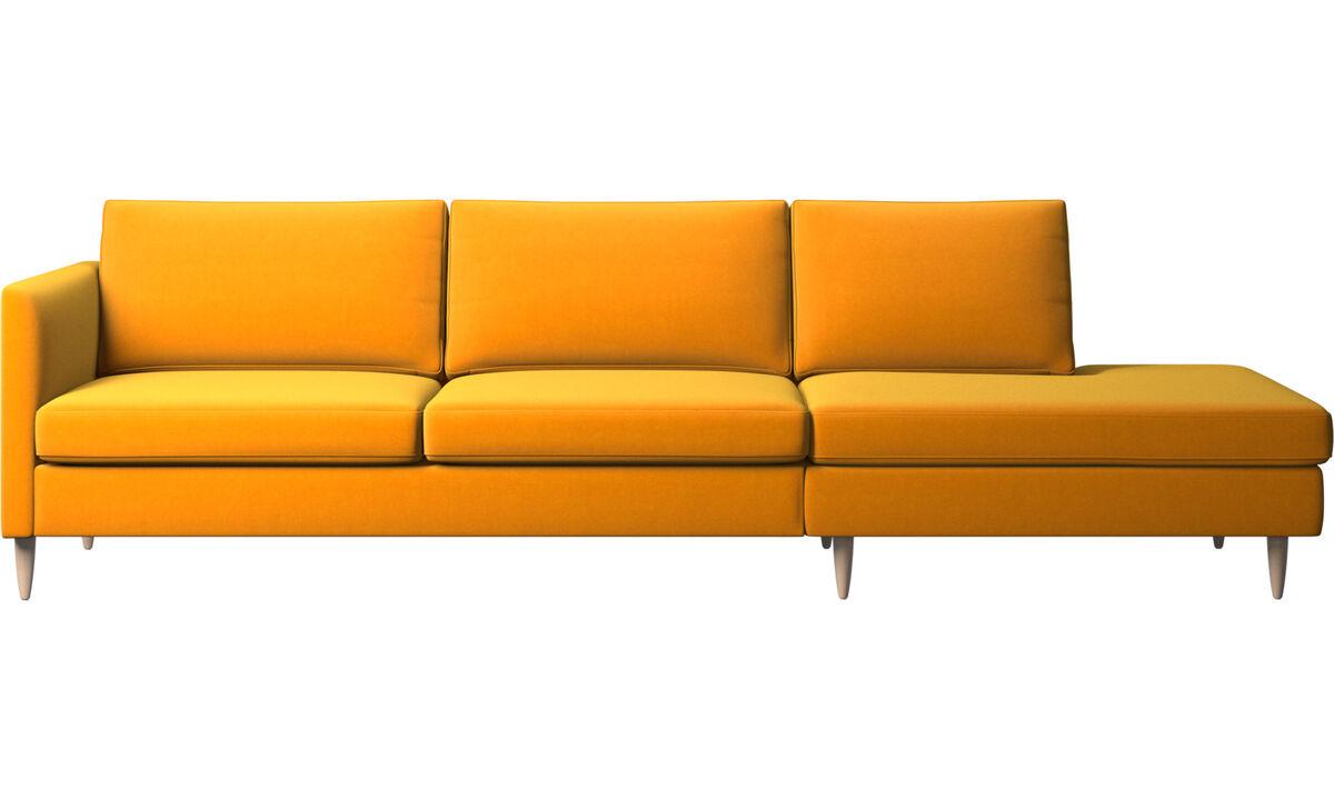 Sofás com canto aberto - sofá Indivi com módulo de descanso - Laranja - Tecido