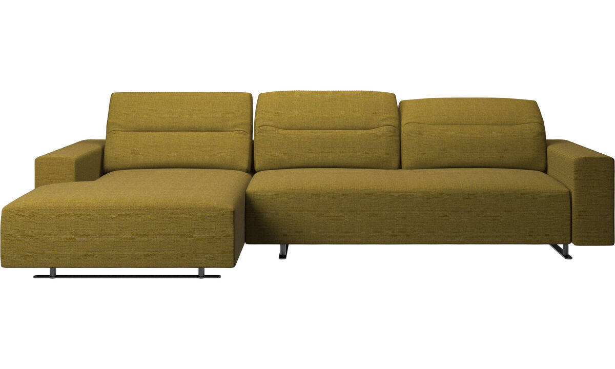 Chaise lounge sofas - Hampton sofa with adjustable back and resting unit left side, storage right side - Yellow - Fabric