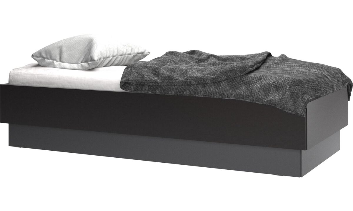 Beds - Lugano storage bed with lift-up frame and slats, excl. mattress - Black - Oak
