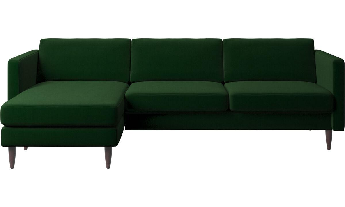 Chaise lounge sofas - Osaka sofa with resting unit, regular seat - Green - Fabric