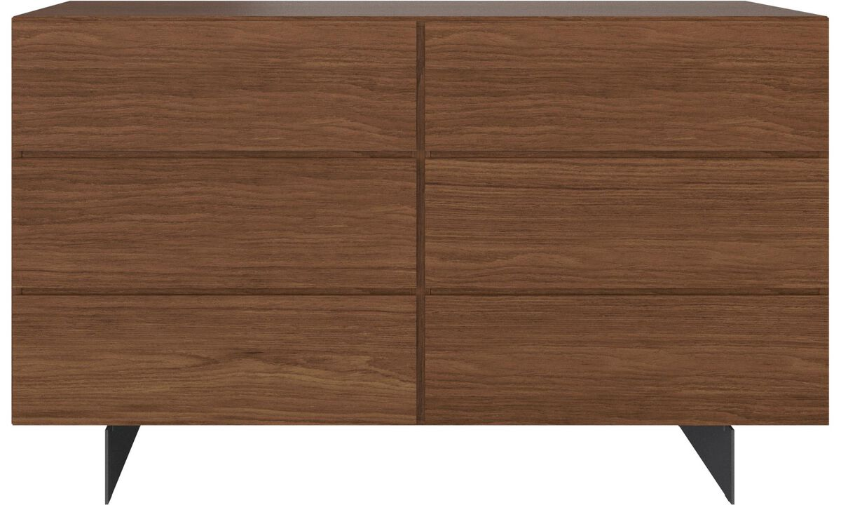 Chests of drawers - Lugano double dresser - Brown - Wood