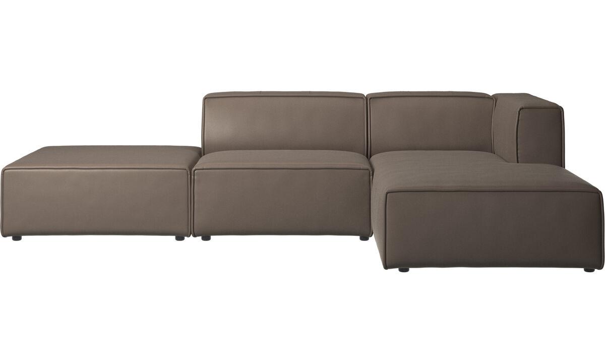 Sofás modulares - Sofá Carmo con módulo chaise-longue - En gris - Piel