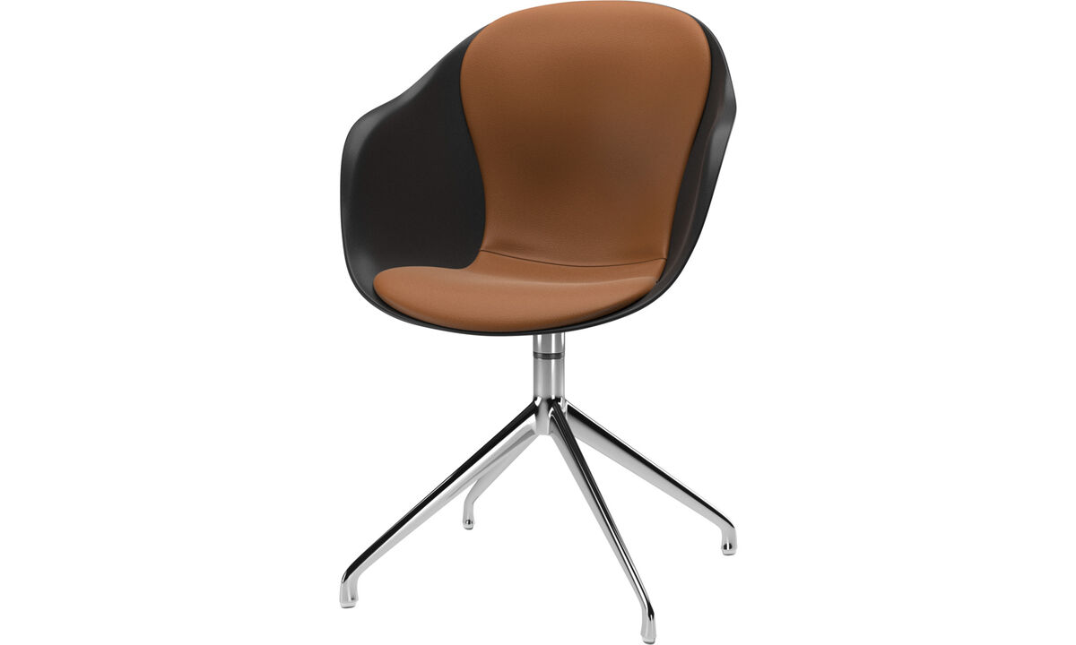 Cadeiras de jantar - cadeira Adelaide giratória - Marrom - Couro