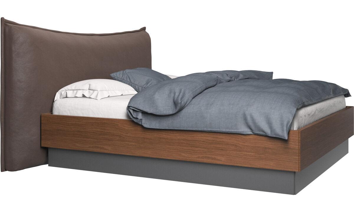 Camas - cama con canapé, estructura elevable y tablado, no incluye colchón Gent - En marrón - Piel