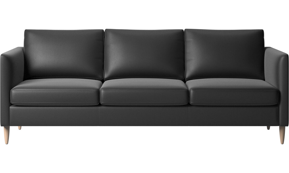 3 seater sofas - Indivi sofa - Black - Leather
