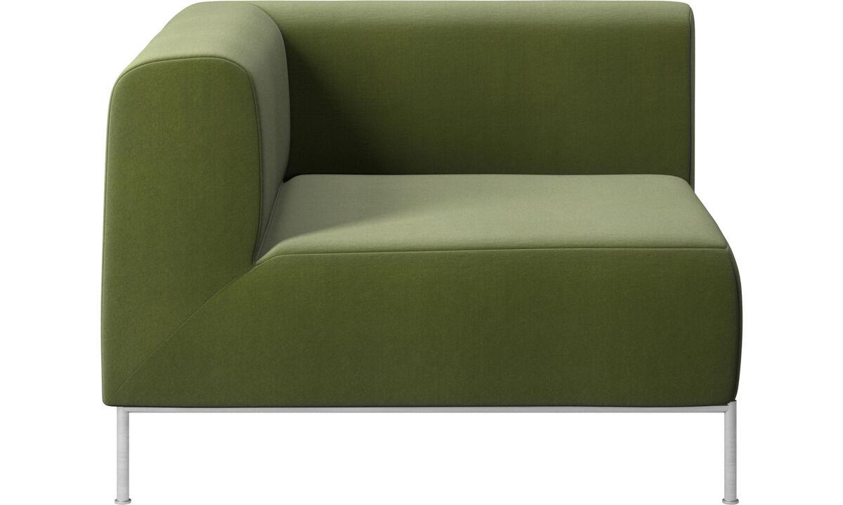 Sofás modulares - sofá Miami, com canto, lado esquerdo - Verde - Tecido