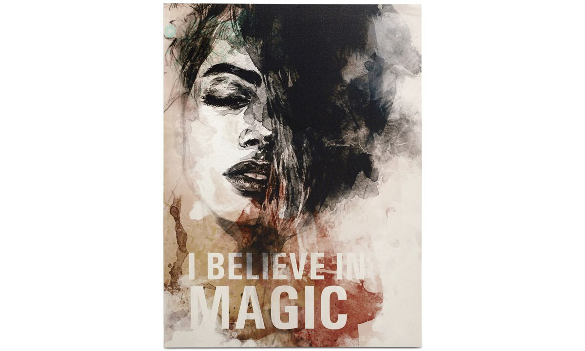 Galerie - Believe in magic I Leinwanddruck - Schwarz - Holz