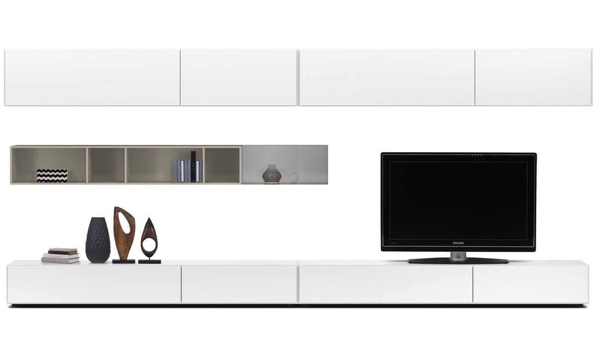 Wall systems - Lugano wall system with drawers, drop down and flip up doors - White - Lacquered