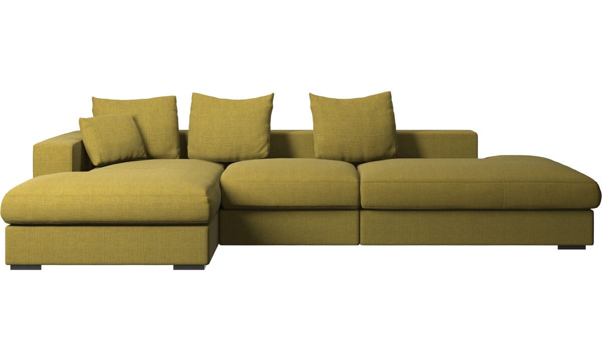 3 seater sofas - Cenova sofa with lounging and resting unit - Yellow - Fabric