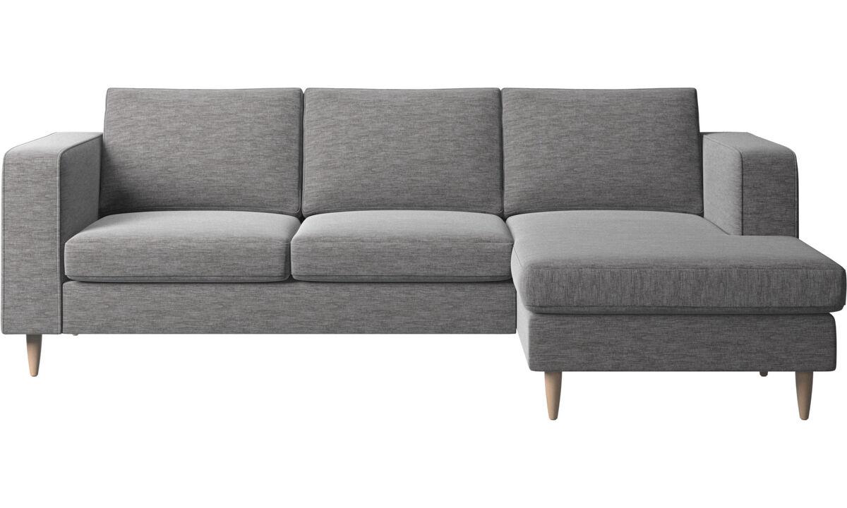 Sofas mit Récamiere - Indivi Sofa mit Ruhemodul - Grau - Stoff