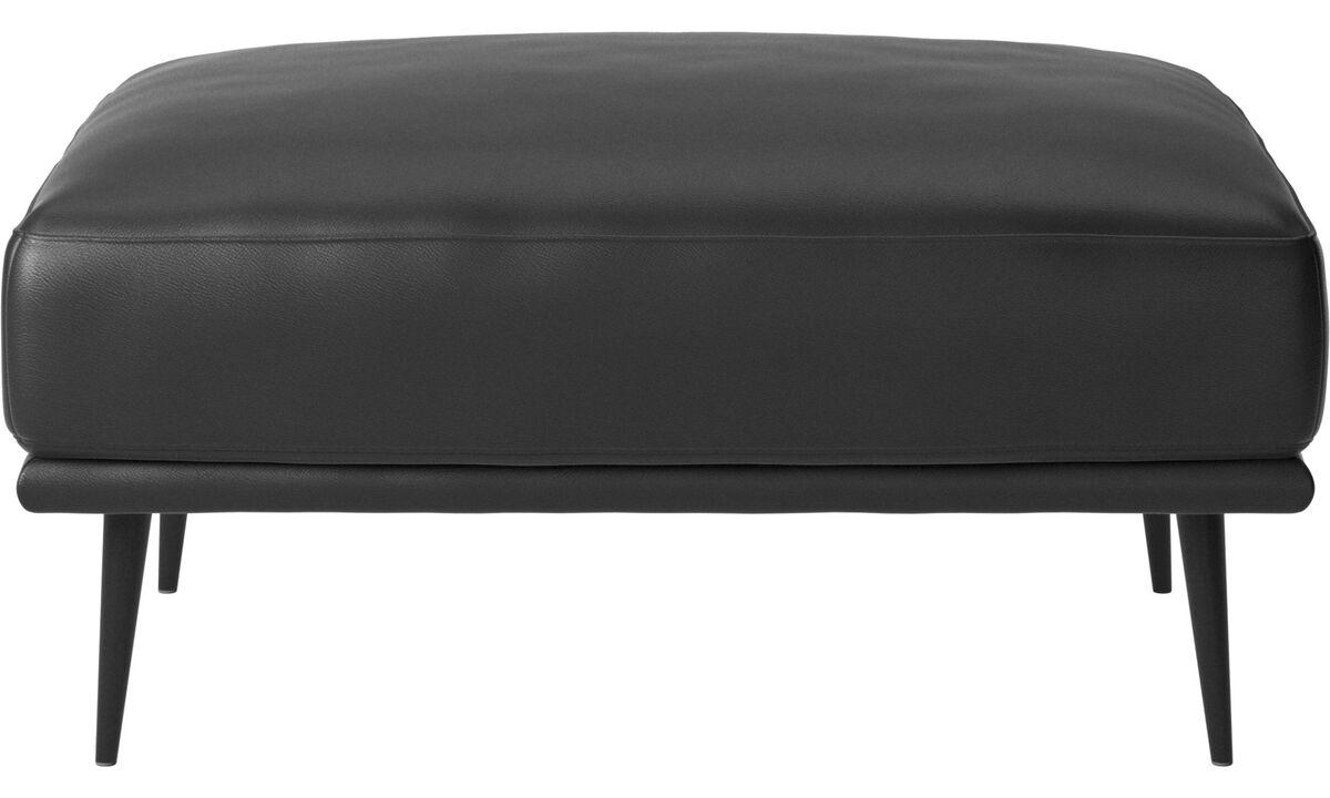 Footstools - Carlton footstool - Black - Leather