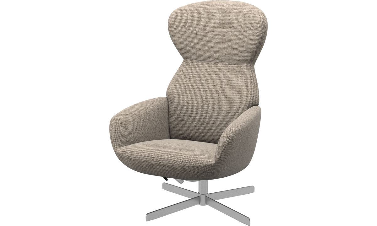 Recliners - Athena chair with reclining back function and swivel base - Beige - Fabric