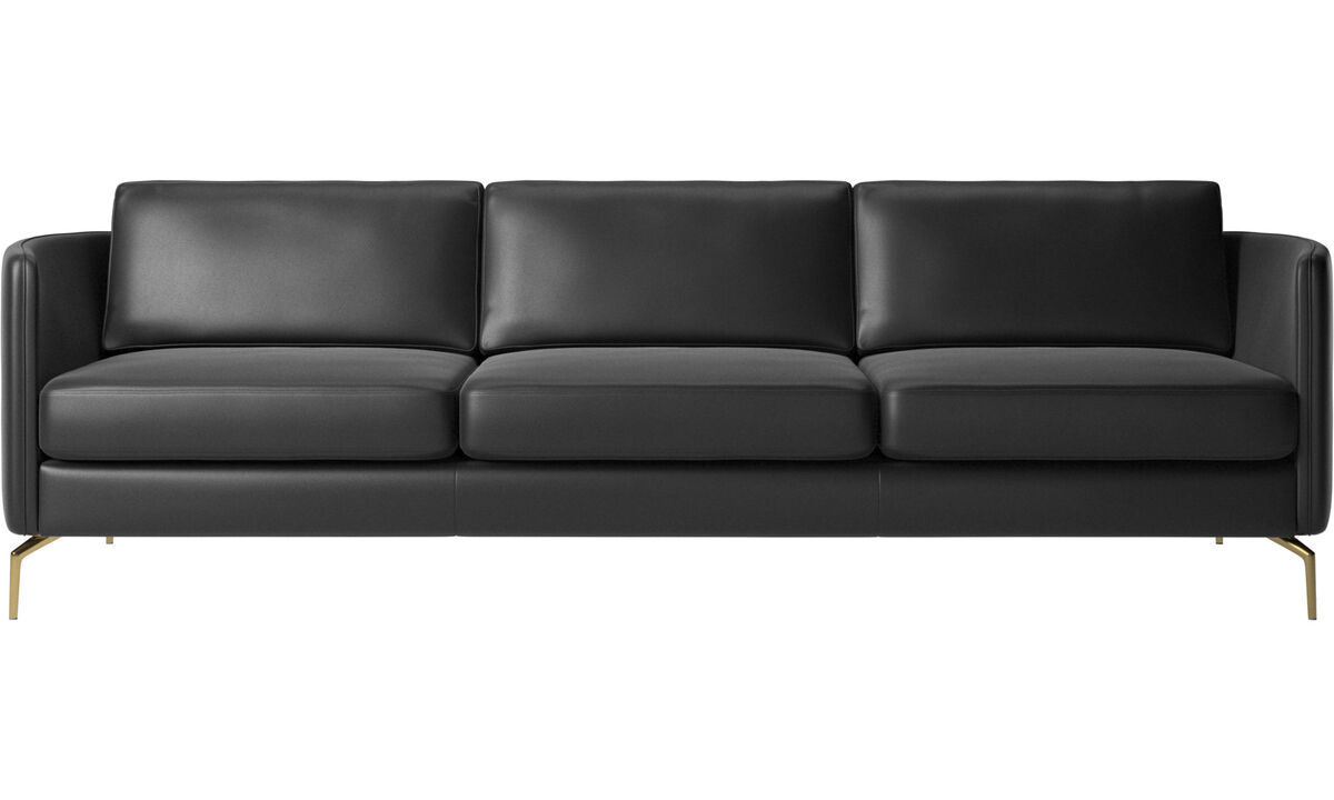 3 seater sofas - Osaka sofa, regular seat - Black - Leather