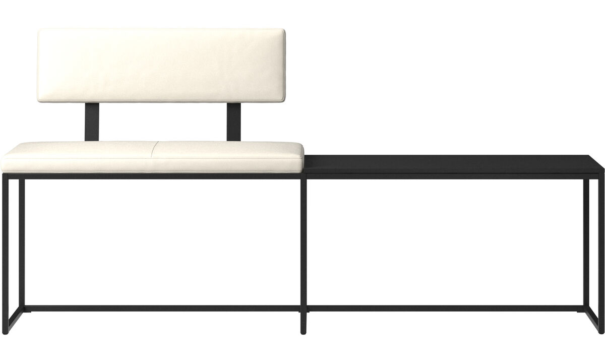 Benches - London large bench with cushion, shelf and backrest - White - Leather