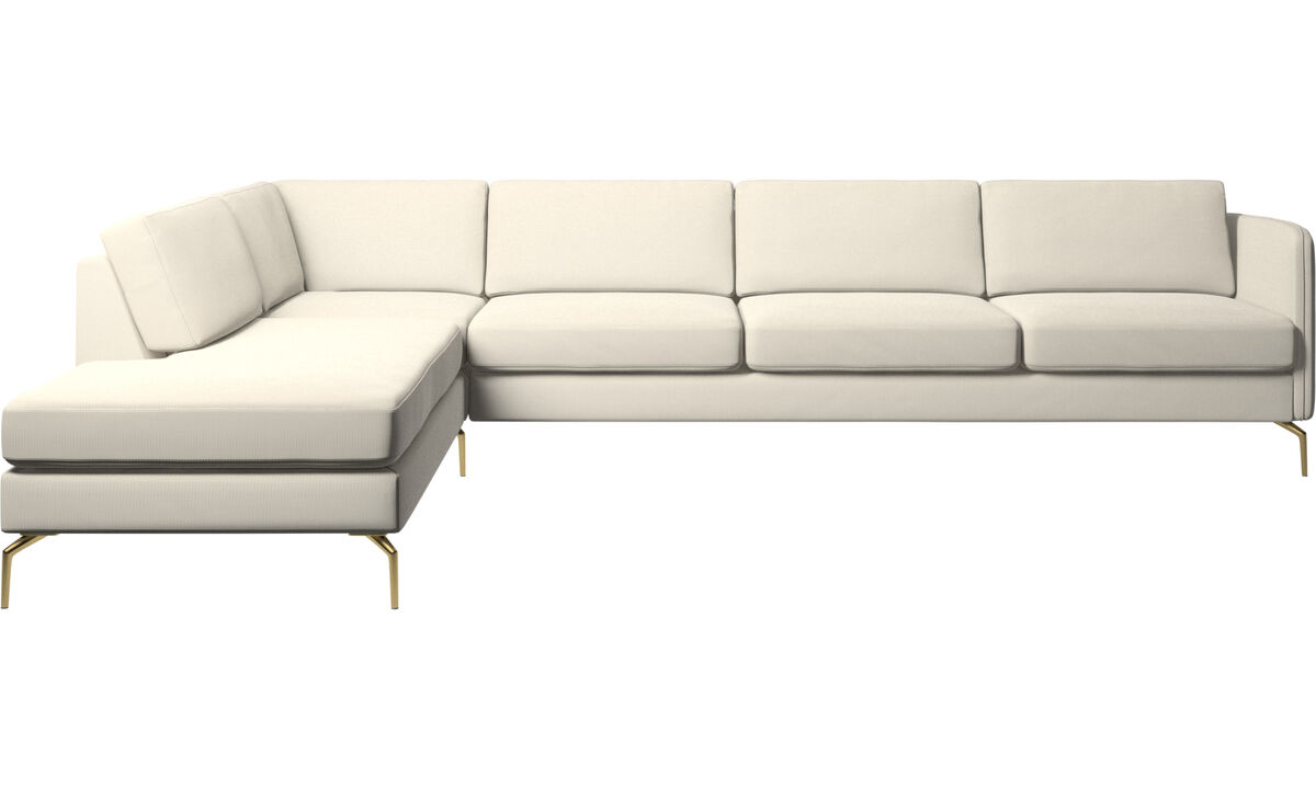 Sofas with open end - Osaka corner sofa with lounging unit, regular seat - White - Fabric