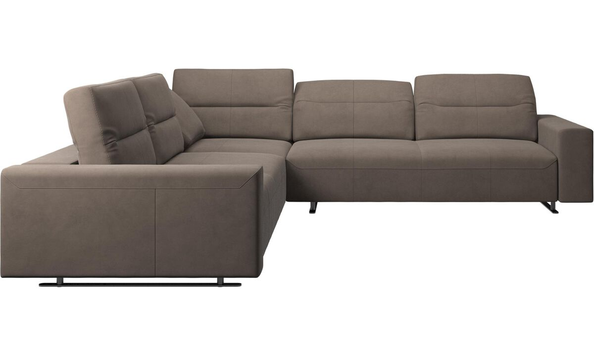 Corner sofas - Hampton corner sofa with adjustable back - Gray - Leather