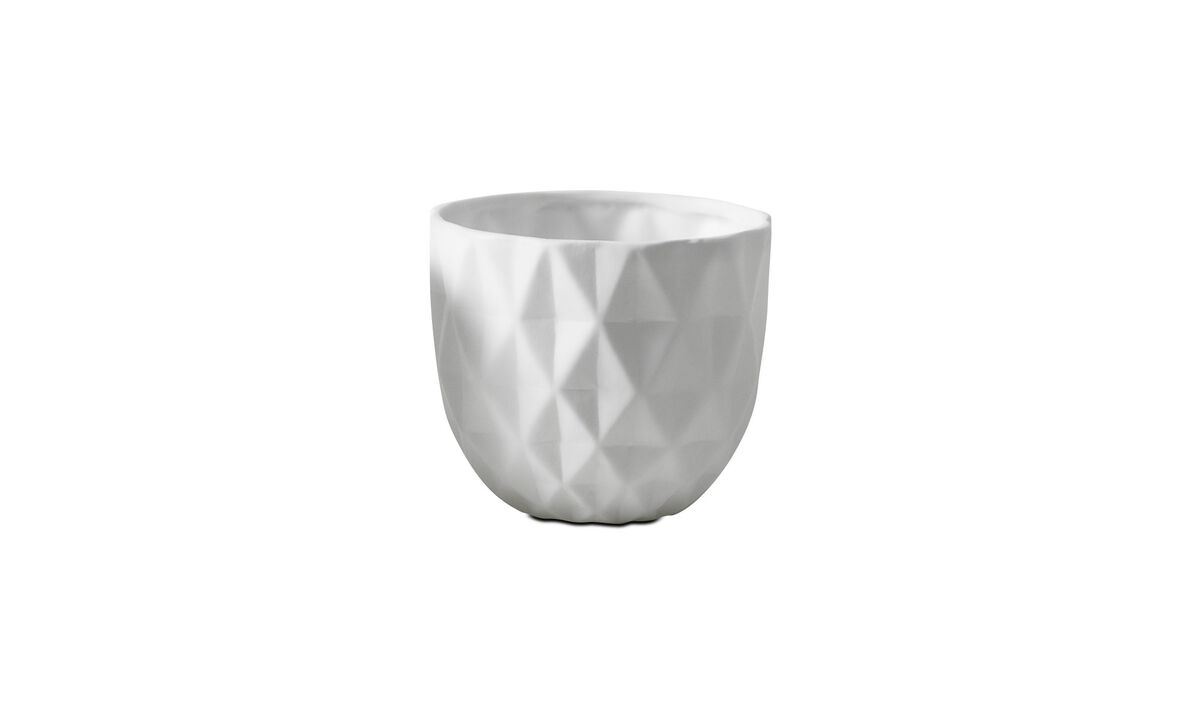 Candle holders - 3D structure tealight holder, Folded - White - Ceramic