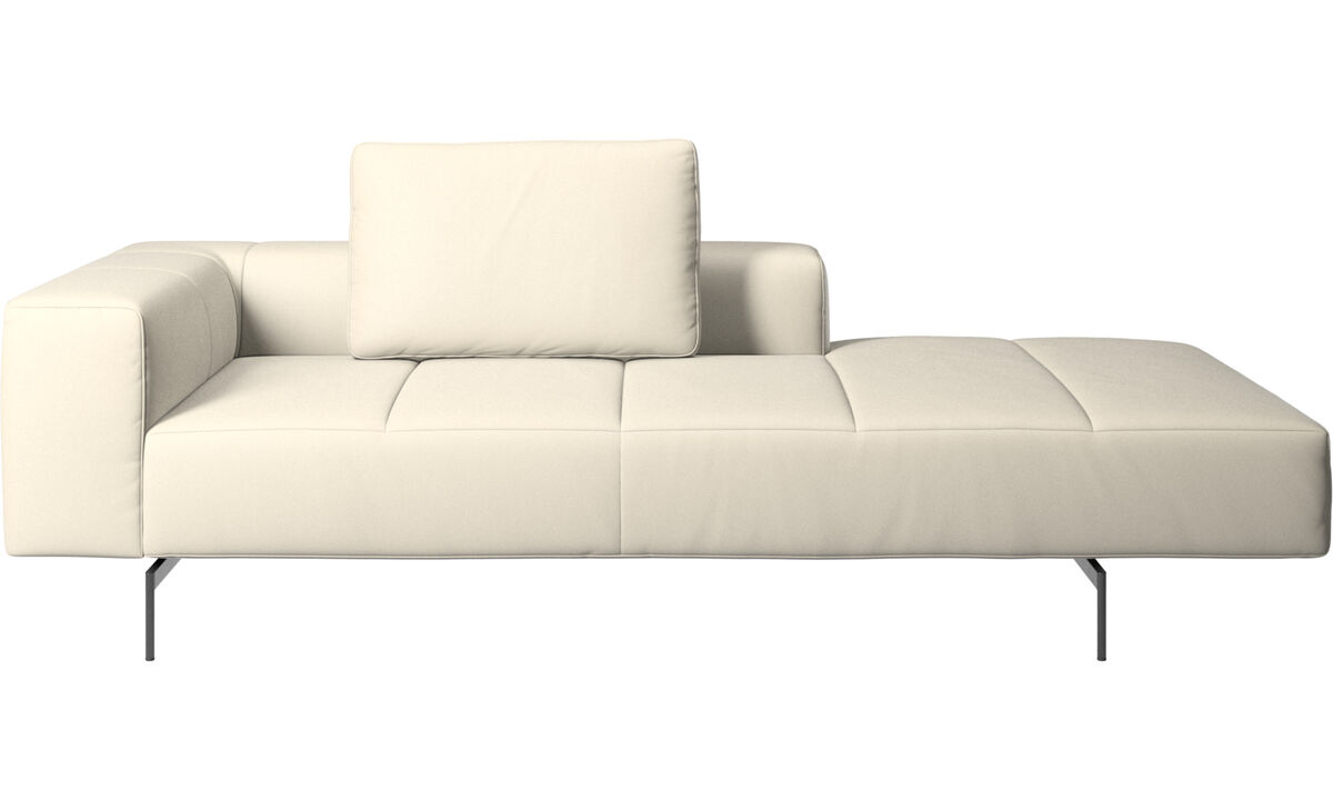 Chaise lounge sofas - Amsterdam Iounging module for sofa, armrest left, open end right - White - Leather