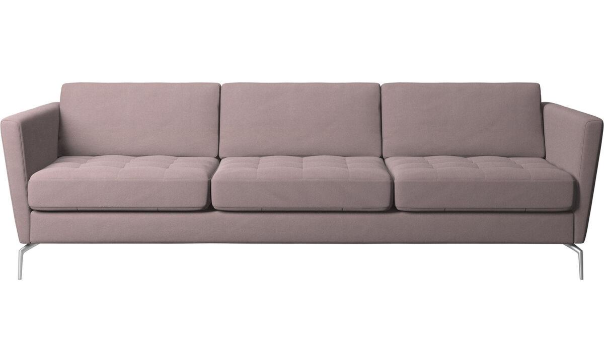 Sofy 3-osobowe - Sofa Osaka, pikowane siedzisko - Purpurowy - Tkanina
