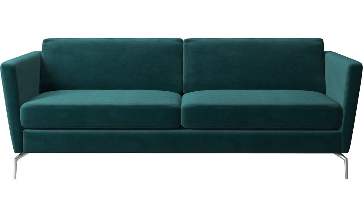 Sofás de 2 plazas y media - sofá Osaka, asiento regular - En azul - Tela