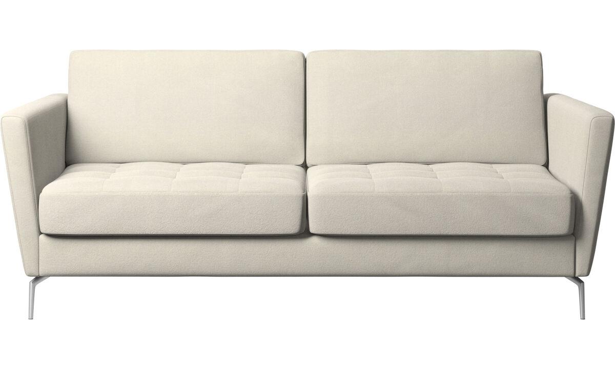 Canapés convertibles - canapé-lit Osaka, assise capitonnée - Blanc - Tissu