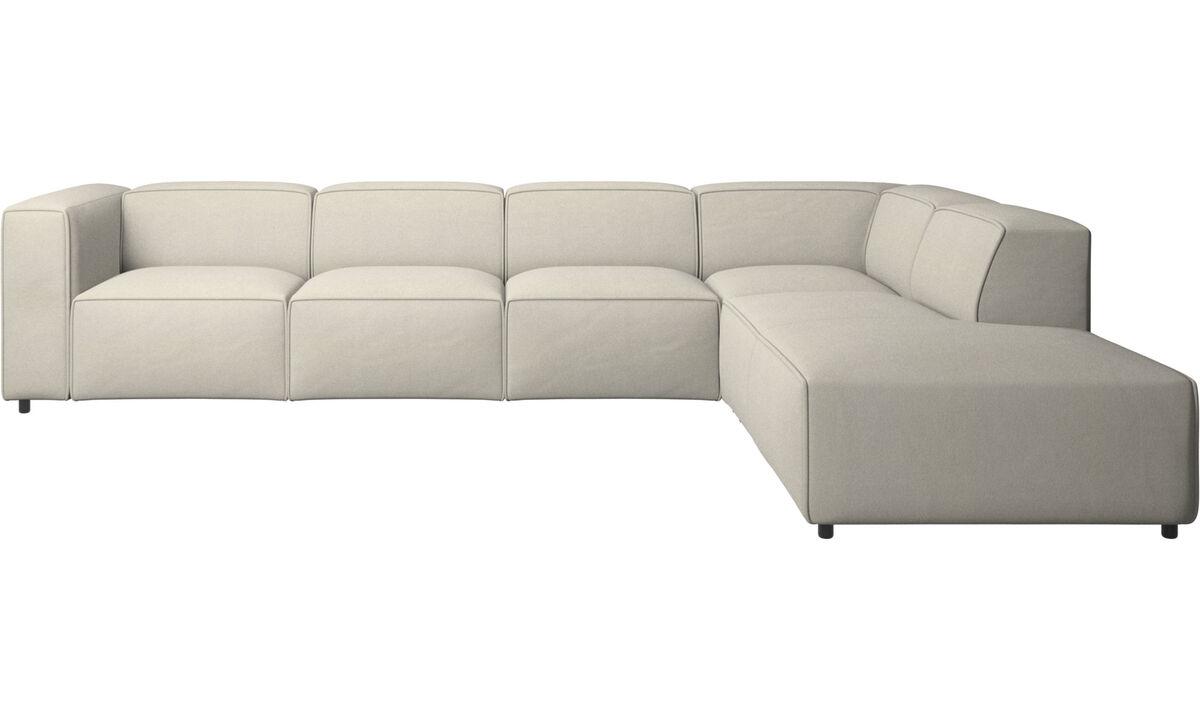 Sofás esquineros - sofá esquinero Carmo con módulo de descanso - Blanco - Tela