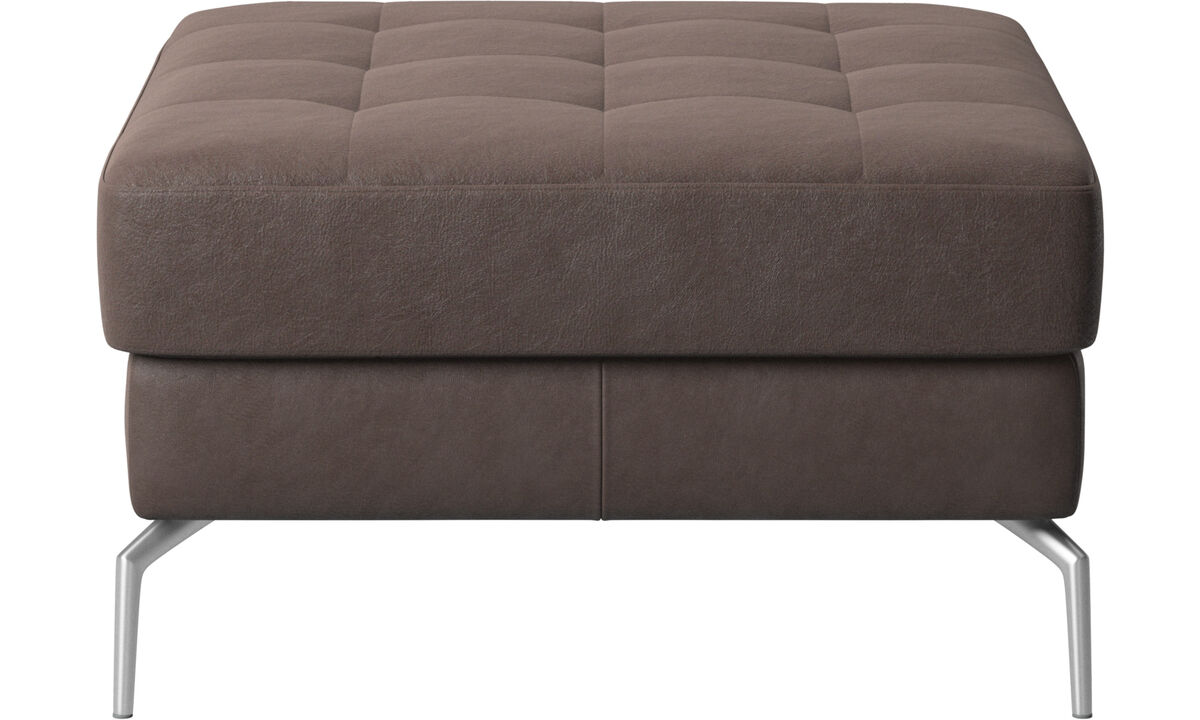 Footstools - Osaka footstool, tufted seat - Brown - Leather