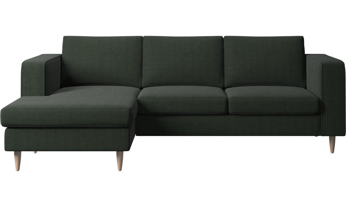Sofás con chaise longue - Sofá Indivi con módulo chaise-longue - En verde - Tela