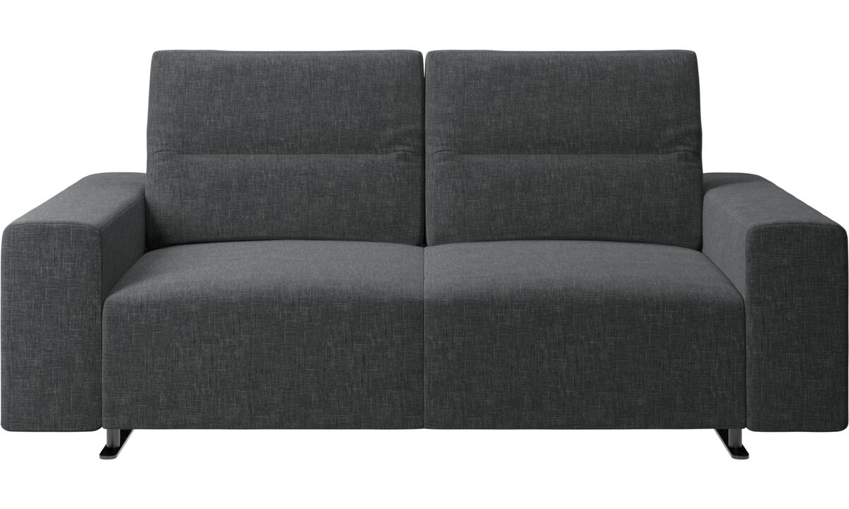 2 seater sofas - Hampton sofa with adjustable back and storage on the right side - Grey - Fabric