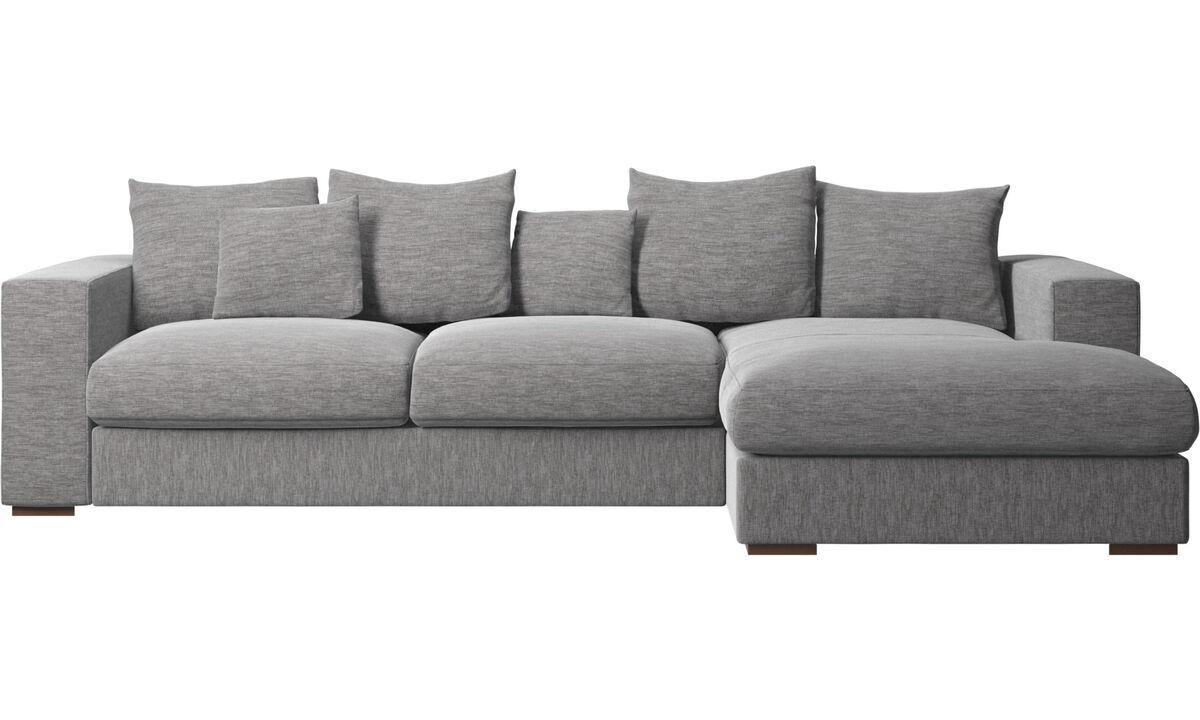 Sofás con chaise longue - sofá Cenova con módulo chaise-longue - En gris - Tela