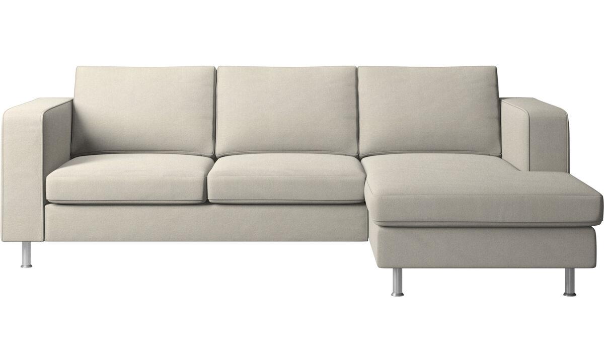 Sofás con chaise longue - Sofá Indivi con módulo chaise-longue - Blanco - Tela