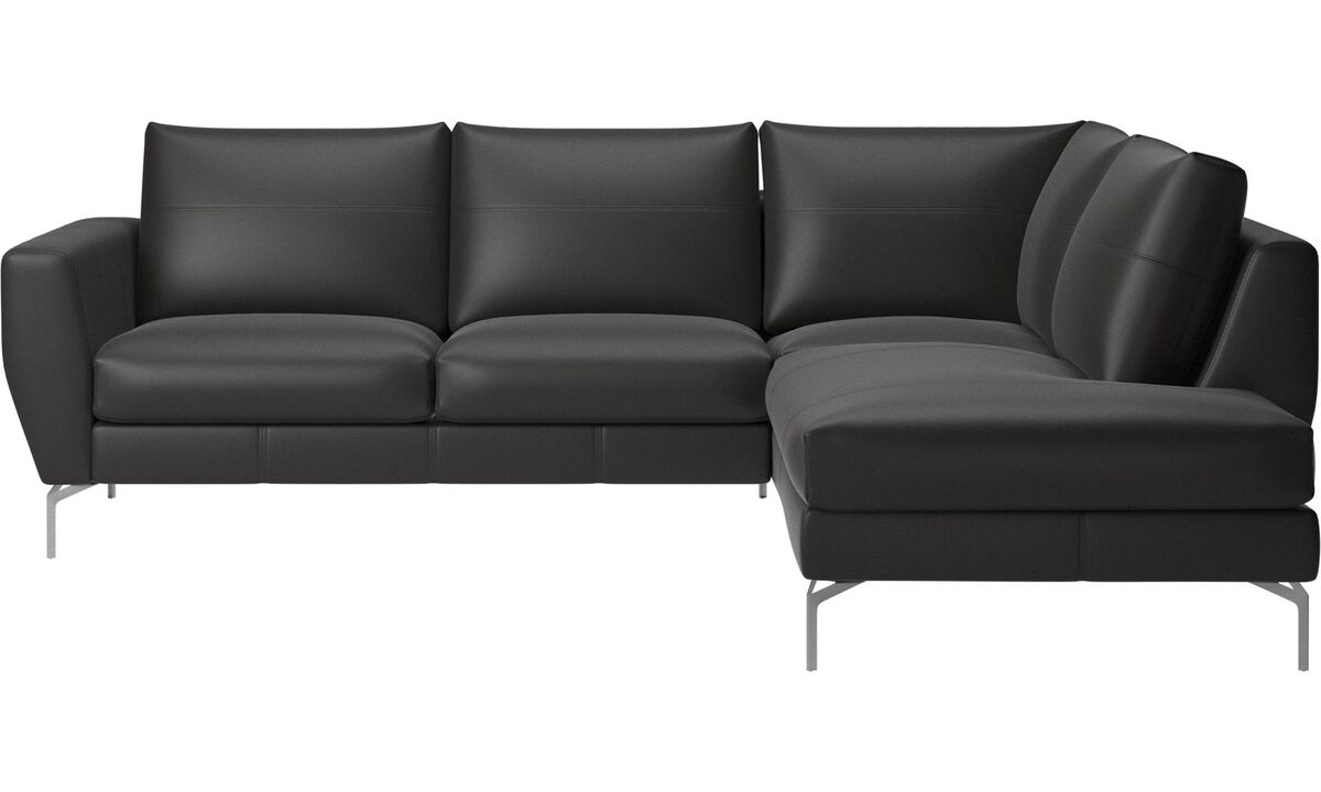 Corner sofas - Nice sofa with lounging unit - Black - Leather