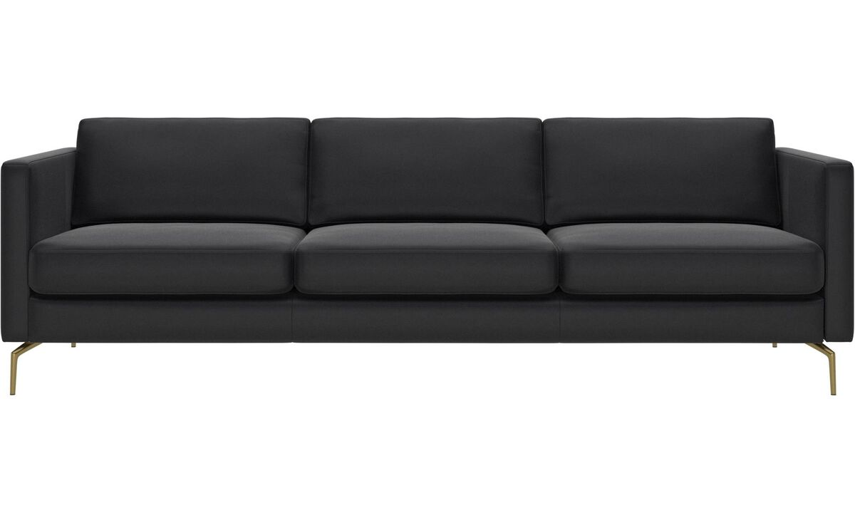 3 seater sofas - Osaka sofa, regular seat - Black - Leather