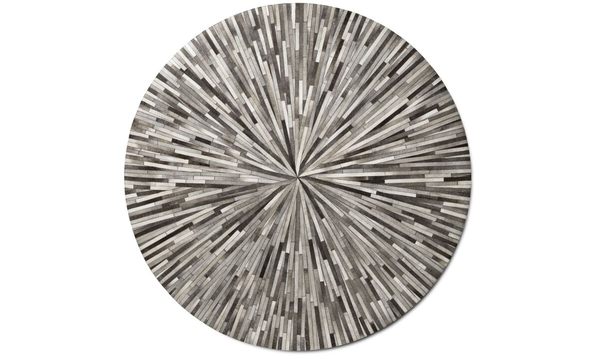 Leather rugs - Dimas rug - round - Gray - Leather