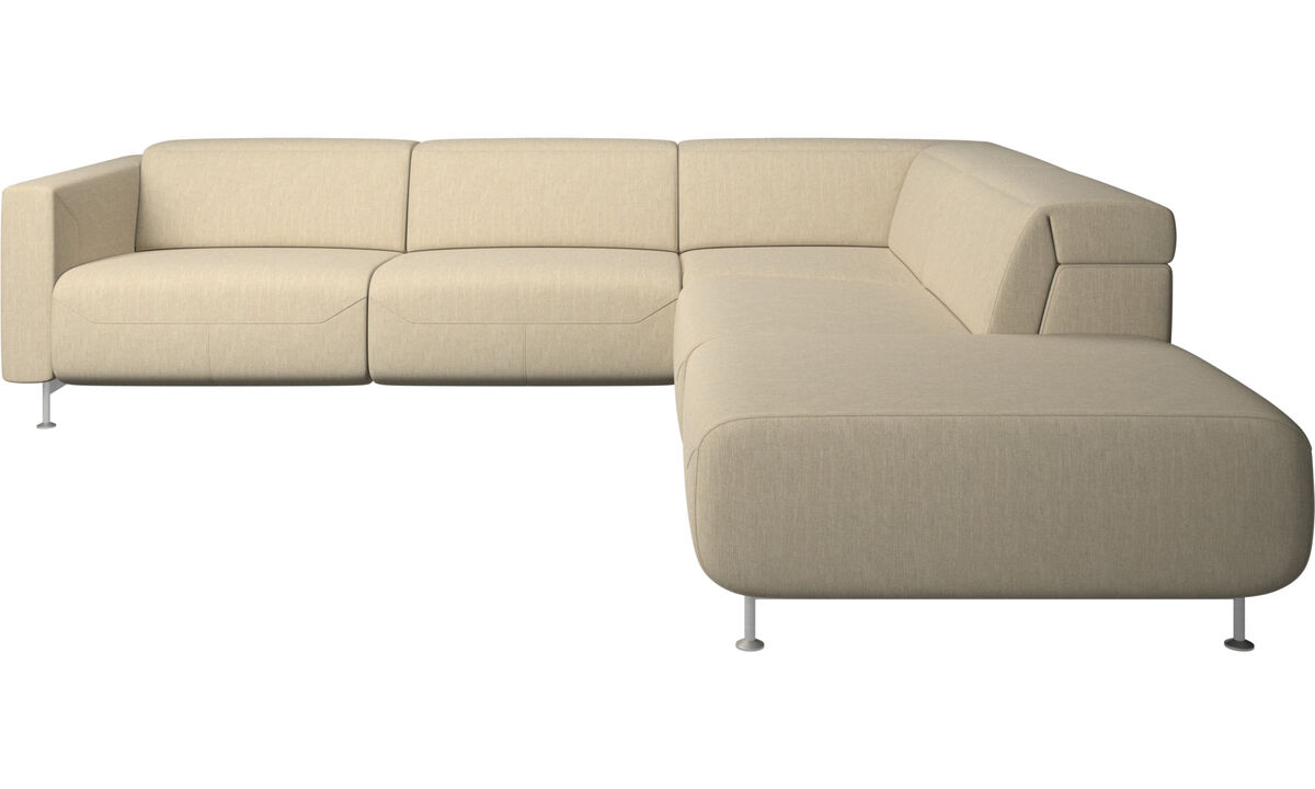 Recliner sofas - Parma reclining corner sofa with open end - Brown - Fabric