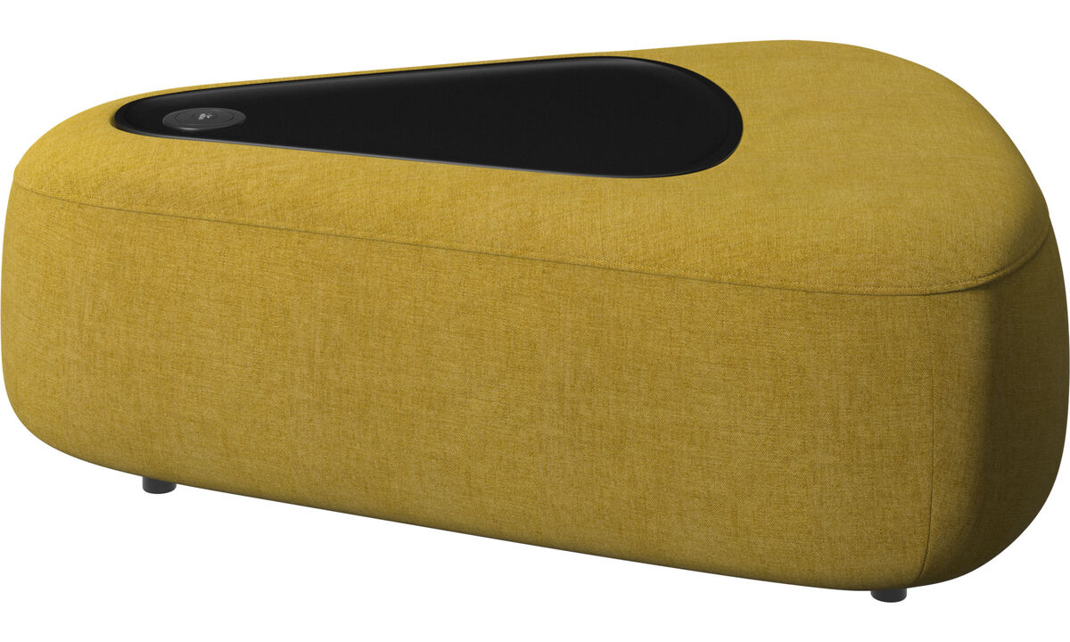 Modular sofas - Ottawa triangular pouf with tray matt black structure - Yellow - Fabric