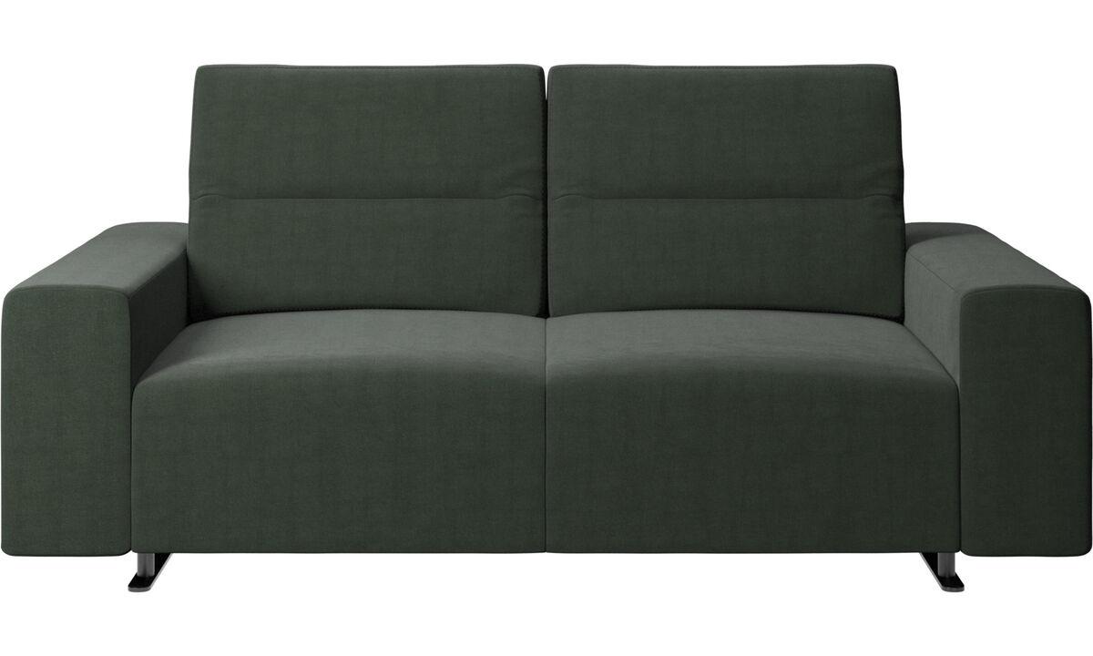 Sofás de 2 plazas - Sofá Hampton con respaldo ajustable y almacenamiento en lado derecho - En verde - Tela