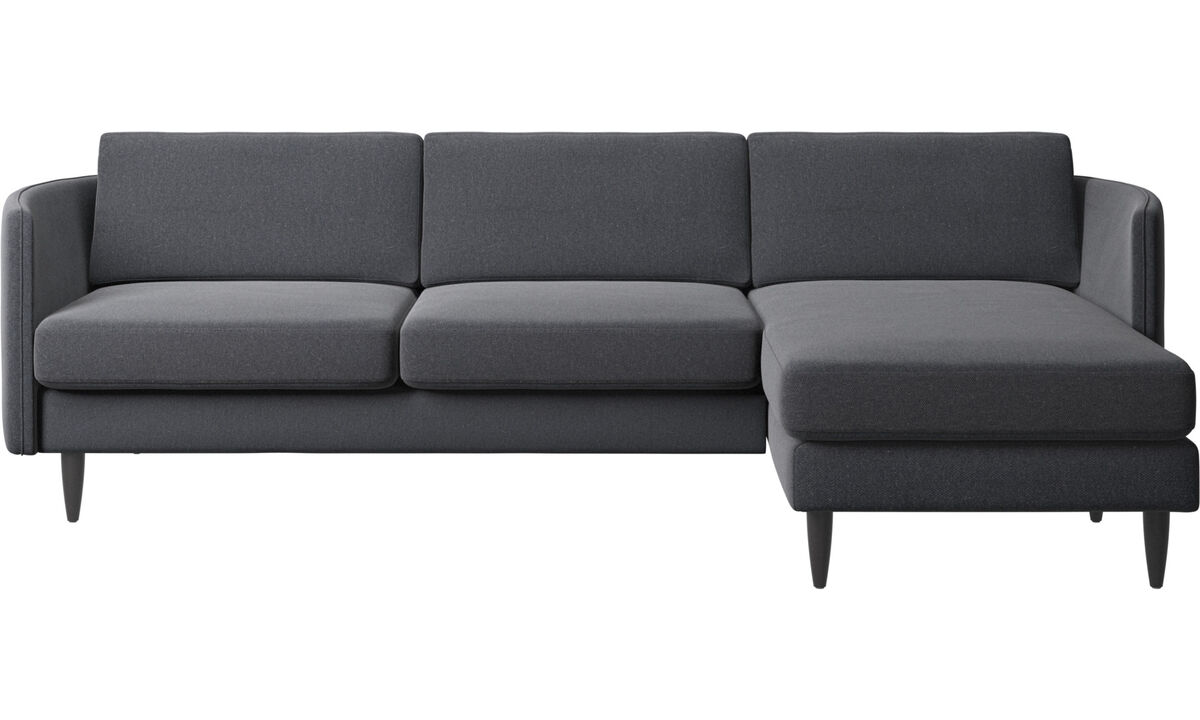 Sofás con chaise longue - sofá Osaka con módulo chaise-longue, asiento regular - En gris - Tela