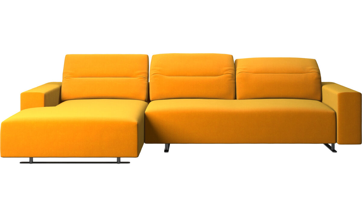 Chaise lounge sofas - Hampton sofa with adjustable back, resting unit and storage left side - Orange - Fabric