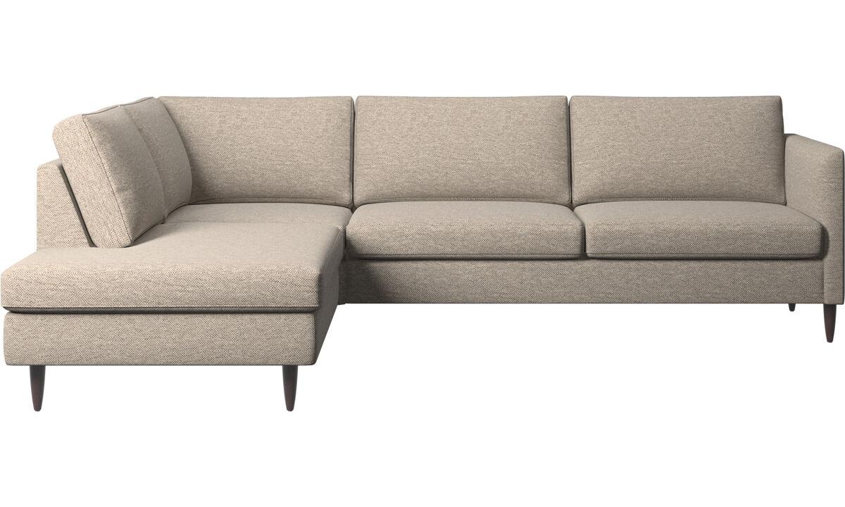Sofás con lado abierto - sofá esquinero Indivi con módulo de descanso - En beige - Tela