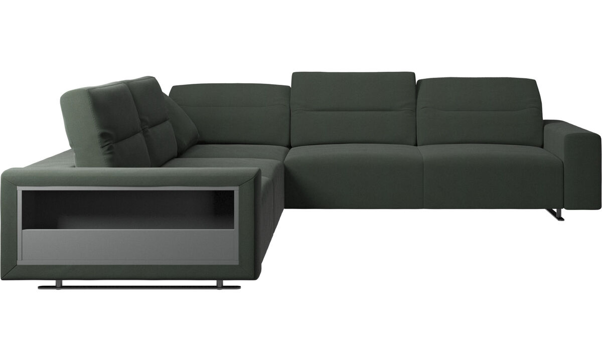 Corner sofas - Hampton corner sofa with adjustable back and storage - Green - Fabric