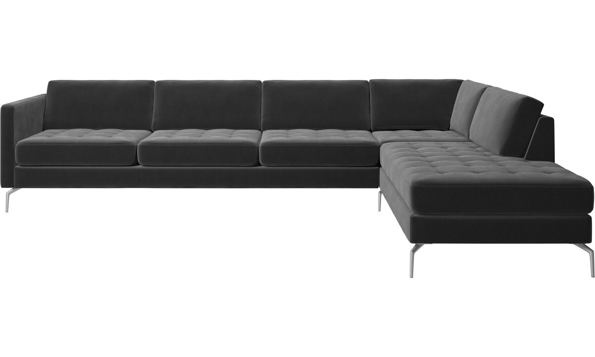 Sofas with open end - Osaka divano ad angolo con modulo relax, seduta trapuntata - Nero - Tessuto