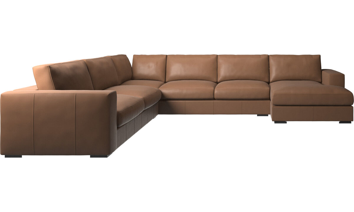 Chaise lounge sofas - Cenova corner sofa with resting unit - Brown - Leather