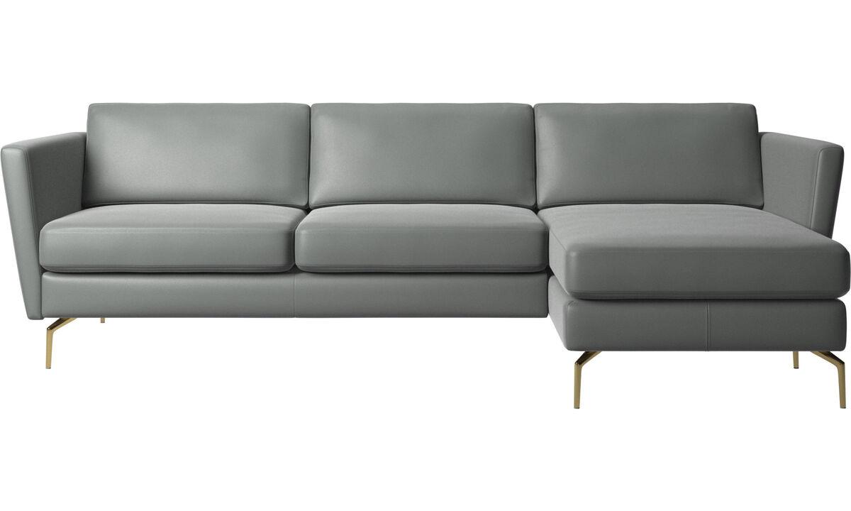 Chaise lounge sofas - Osaka sofa with resting unit, regular seat - Gray - Leather